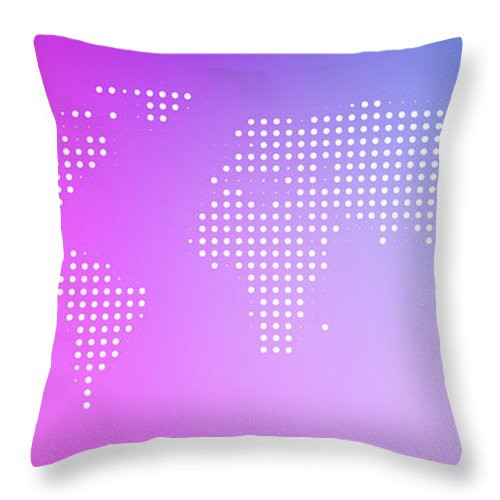 Panoramic Throw Pillow featuring the digital art World Map In Dots Against An Abstract by Ralf Hiemisch