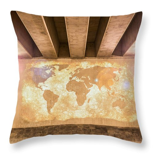 Art Throw Pillow featuring the photograph World Map by Semmick Photo