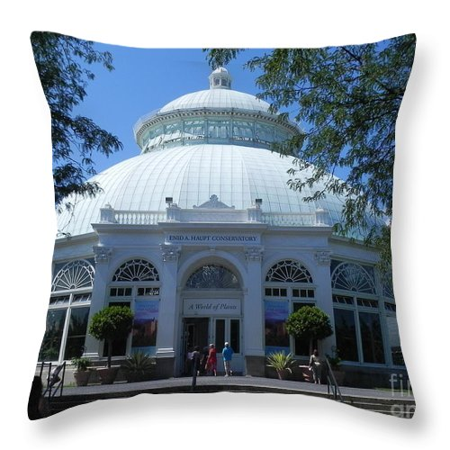 Photography Throw Pillow featuring the photograph World Of Plants Building At The New York Botanical Gardens by Chrisann Ellis