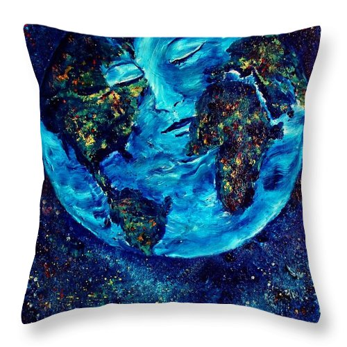 World Throw Pillow featuring the painting World Peace by Robin Monroe