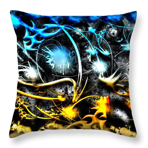 Worlds Throw Pillow featuring the digital art Worlds Collide by Michael Damiani