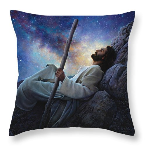 Jesus Throw Pillow featuring the painting Worlds Without End by Greg Olsen