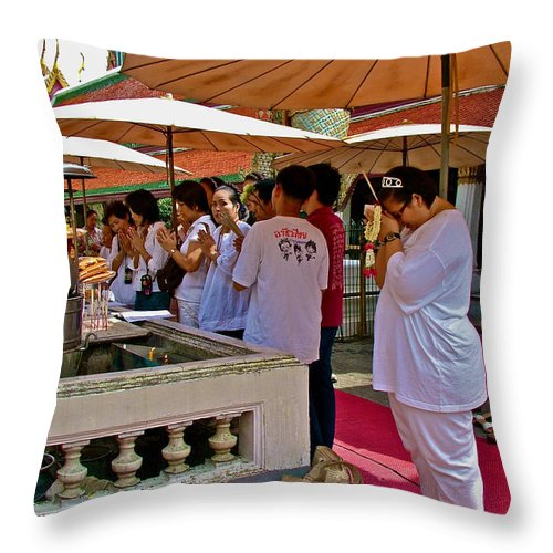 Worshippers In Front Of Royal Temple At Grand Palace Of Thailand In Bangkok Throw Pillow featuring the photograph Worshippers In Front Of The Royal Temple At Grand Palace Of Tha by Ruth Hager