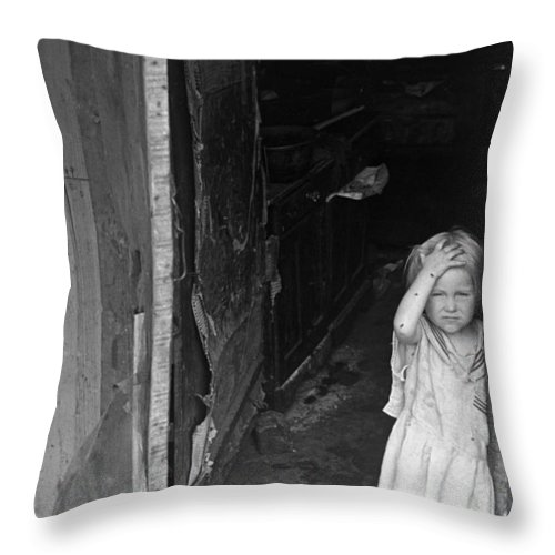 1938 Throw Pillow featuring the photograph Wpa Young Girl, 1938 by Granger