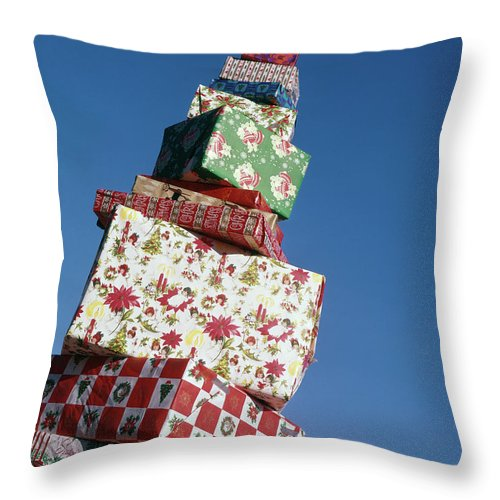 Photography Throw Pillow featuring the photograph Wrapped Christmas Present Stacked by Vintage Images