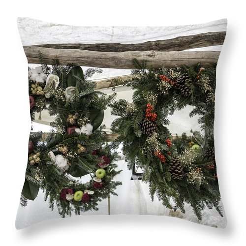 2013 Throw Pillow featuring the photograph Wreaths For Sale Colonial Williamsburg by Teresa Mucha