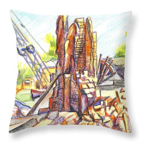 Wrecking Ball Throw Pillow featuring the painting Wrecking Ball by Kip DeVore