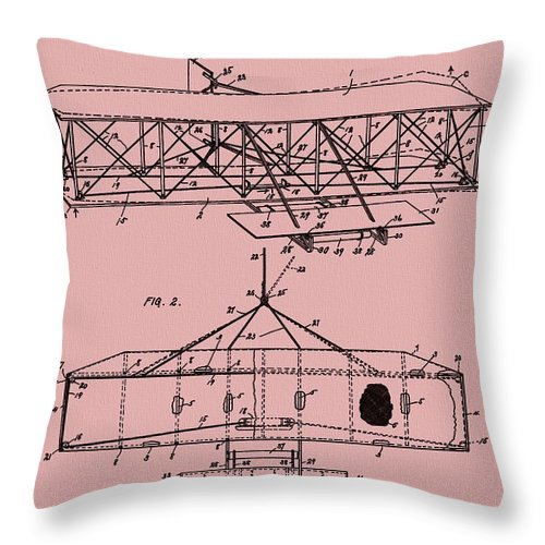 The Wright Brothers Airplane Patent Throw Pillow featuring the mixed media Wright Brothers Patent Red by Dan Sproul