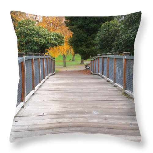 Bridge Throw Pillow featuring the photograph Wrights Park Bridge by Tikvah's Hope