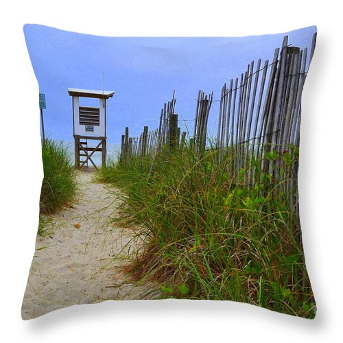 Life Guard Station Throw Pillow featuring the photograph Wrightsville Beach Acess by Amy Lucid