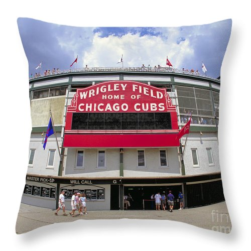 Wrigley Field Throw Pillow featuring the photograph Wrigley Field Marquee by Martin Konopacki