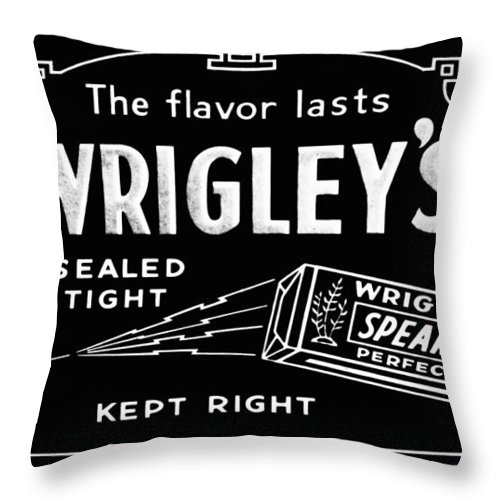 Wrigleys Throw Pillow featuring the photograph Wrigleys Spearmint Gum by Bill Cannon