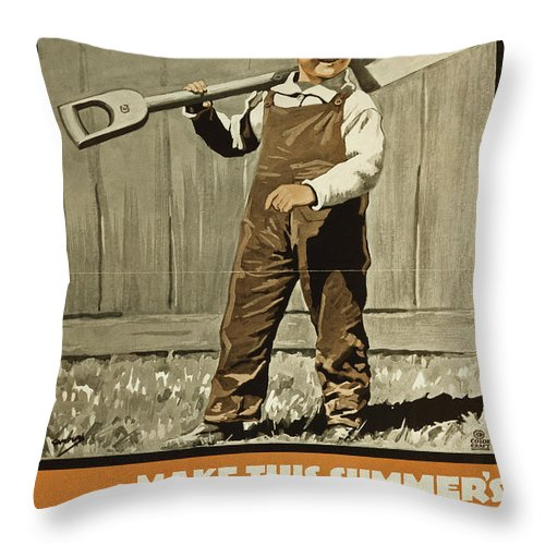 1915 Throw Pillow featuring the painting Wwi Farming C1915 by Granger
