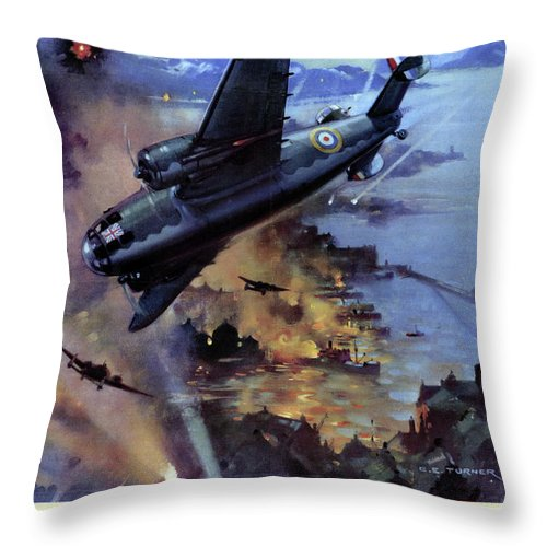 1942 Throw Pillow featuring the drawing Wwii Royal Air Force, C1942 by Granger