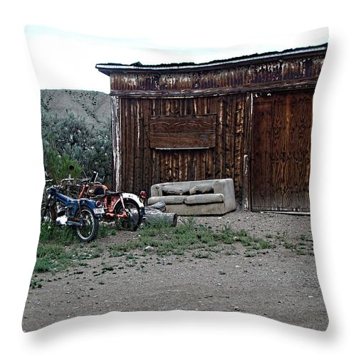Throw Pillow featuring the digital art Wyoming Backroads by Cathy Anderson