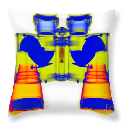 Color Throw Pillow featuring the photograph X-ray Of Binoculars by Scott Camazine