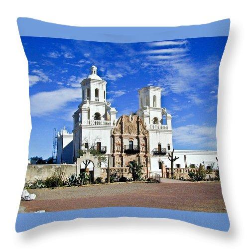 Mission San Xavier Del Bac Throw Pillow featuring the photograph Xavier Tucson Arizona by Douglas Barnett