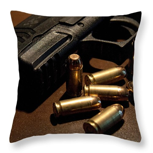 Springfield Throw Pillow featuring the photograph Springfield Armory Xdm by John Black