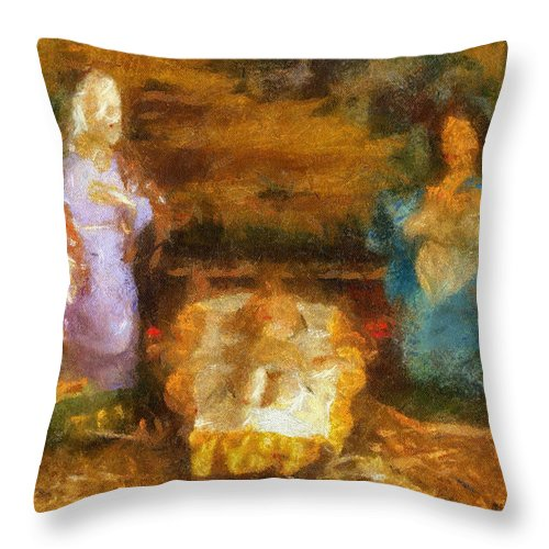 Baby Jesus Throw Pillow featuring the photograph Xmas Baby Jesus Photo Art by Thomas Woolworth
