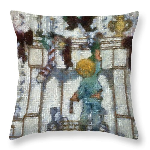 Stocking Throw Pillow featuring the photograph Xmas Little Boy With His Stocking Photo Art by Thomas Woolworth