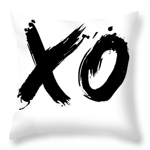 Motivational Throw Pillow featuring the digital art Xo Poster White by Naxart Studio