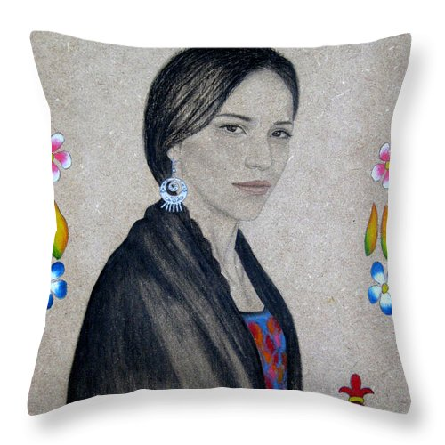 Flower Throw Pillow featuring the painting Xochitl by Lynet McDonald