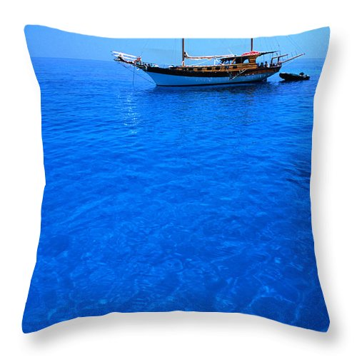 Freight Transportation Throw Pillow featuring the photograph Yacht Anchored In The Spectacular by Dallas Stribley