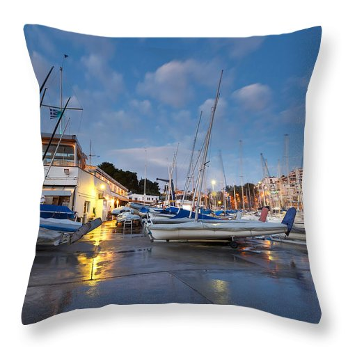 Athens Throw Pillow featuring the photograph Yacht Club by Milan Gonda