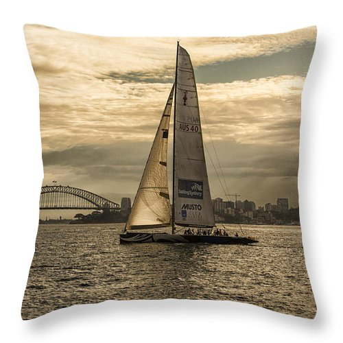 Yachts Throw Pillow featuring the photograph Yachts on Sydney Harbour by Sheila Smart Fine Art Photography