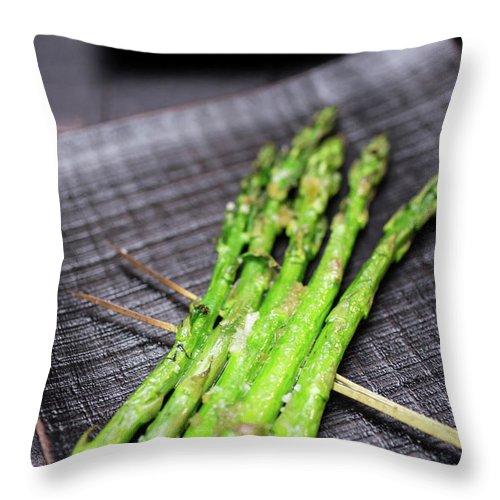 Serving Dish Throw Pillow featuring the photograph Yakitori Asparagus by Katya Lyukum