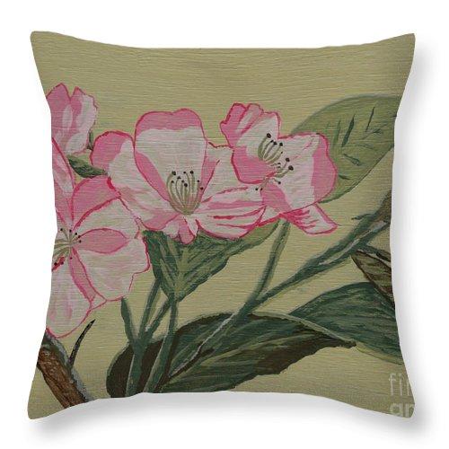 Yamazakura Throw Pillow featuring the painting Yamazakura Or Cherry Blossom by Anthony Dunphy