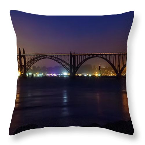 Yaquina Bay Throw Pillow featuring the photograph Yaquina Bay Bridge At Night by James Eddy