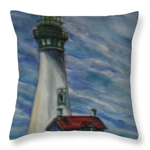 Quin Sweetman Throw Pillow featuring the painting Yaquina Head Lighthouse Original Painting by Quin Sweetman