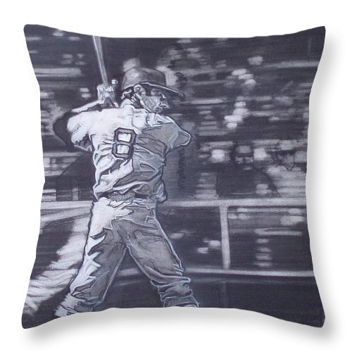 Charcoal Throw Pillow featuring the drawing Yaz - Carl Yastrzemski by Sean Connolly