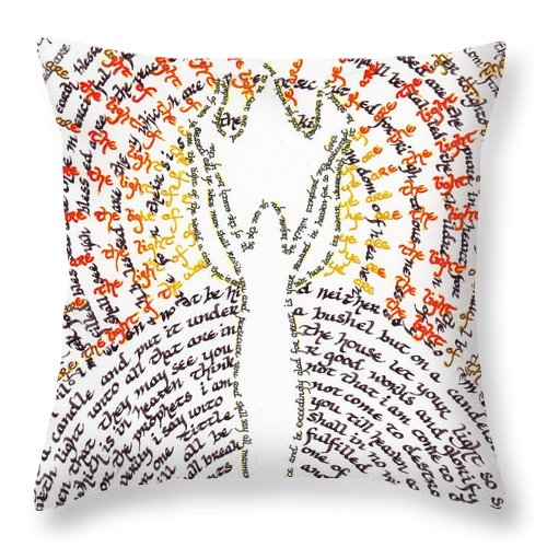 Calligraphy Throw Pillow featuring the painting Ye Are The Light Of The World by Hidden Mountain