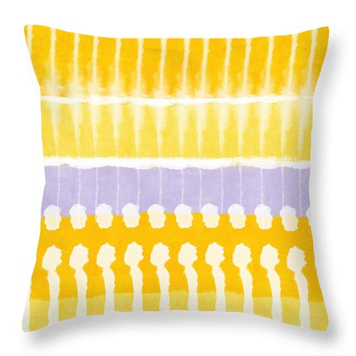Abstract Throw Pillow featuring the painting Yellow and Grey Tie Dye by Linda Woods