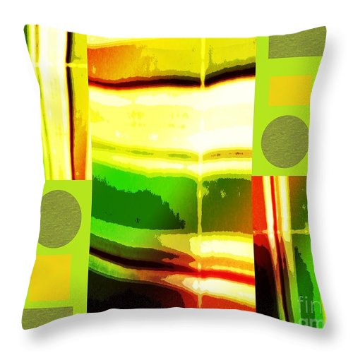 Abstract Throw Pillow featuring the mixed media Yellow Bliss by Ann Calvo