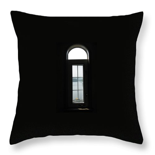 Window Throw Pillow featuring the photograph Yellow Boat In The Window by Jacqueline Russell