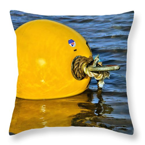 Shaldon Throw Pillow featuring the photograph Yellow Buoy by Susie Peek