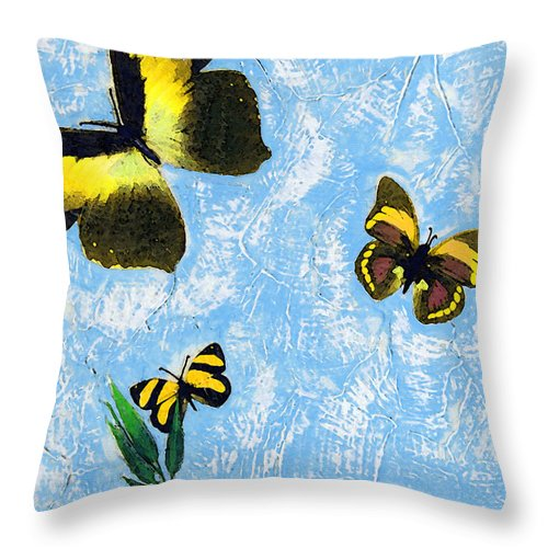 Butterfly Throw Pillow featuring the painting Yellow Butterflies - Spring Art By Sharon Cummings by Sharon Cummings
