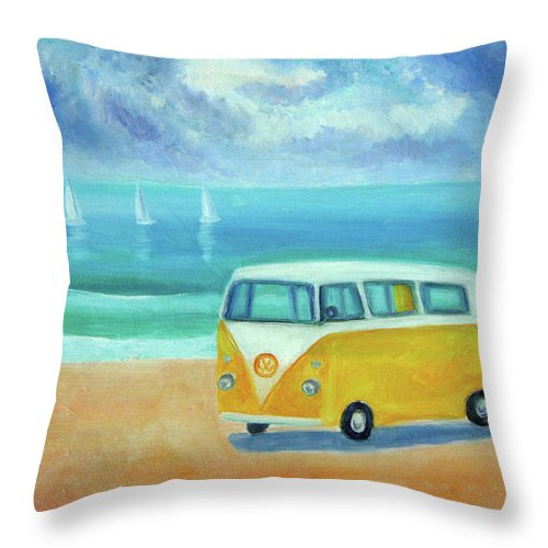 Camper Throw Pillow featuring the painting Yellow Camper by Mary Stubberfield