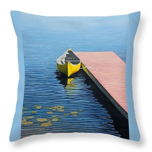 Landscape Paintings Throw Pillow featuring the painting Yellow Canoe by Kenneth M Kirsch