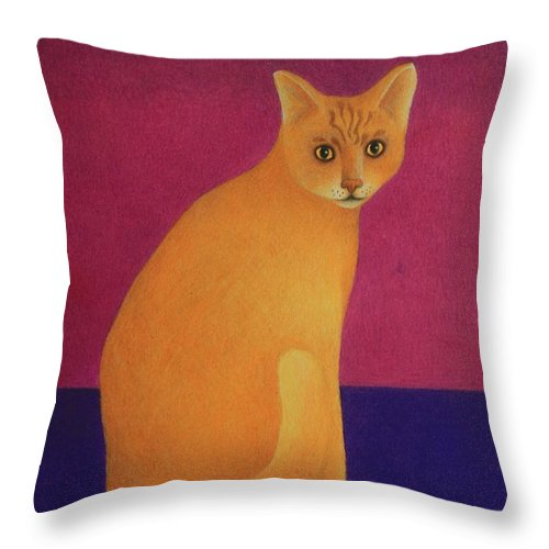 Primary Colors Throw Pillow featuring the painting Yellow Cat by Pamela Clements