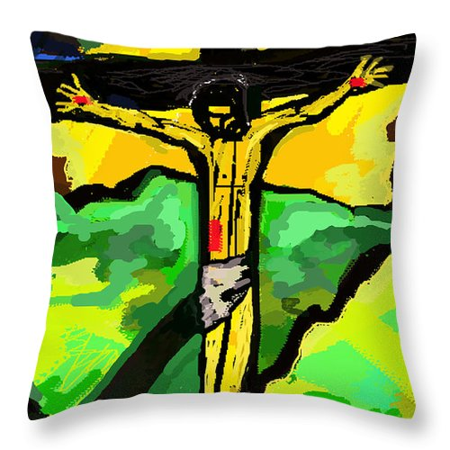 Jesus Throw Pillow featuring the painting Yellow Christ After Gauguin by Paul Sutcliffe