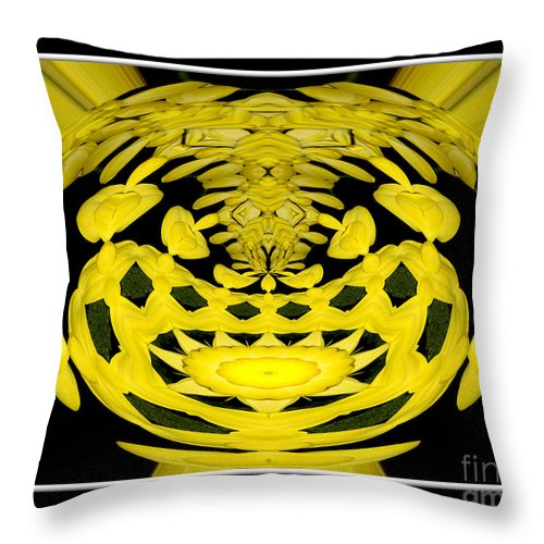 Yellow Throw Pillow featuring the photograph Yellow Chrysanthemums Polar Coordinates Effect by Rose Santuci-Sofranko