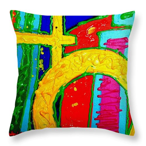 Abstract Throw Pillow featuring the painting Yellow Circle by John Nolan