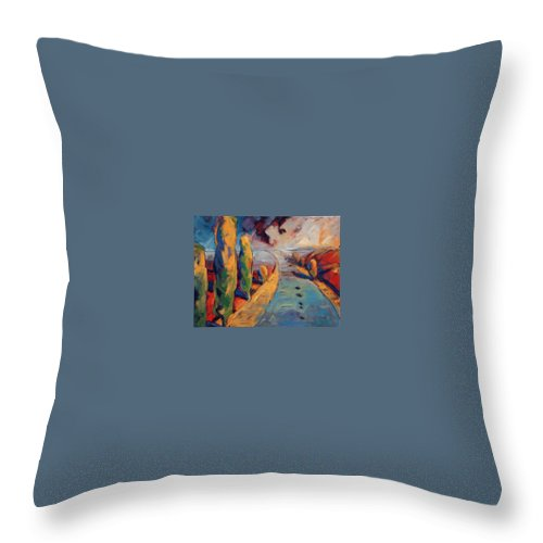 California Throw Pillow featuring the painting Yellow Cypress by Konnie Kim