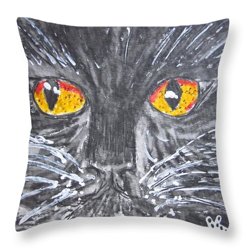Yellow Eyes Throw Pillow featuring the painting Yellow Eyed Black Cat by Kathy Marrs Chandler