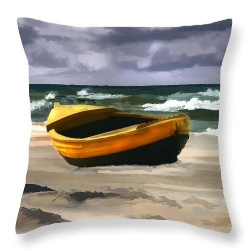 Landscape Throw Pillow featuring the painting Yellow Fishing Dory Before The Storm by Elaine Plesser