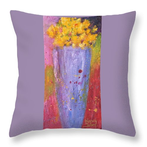 Flowers Throw Pillow featuring the painting Yellow Flowers by Nancy Jolley